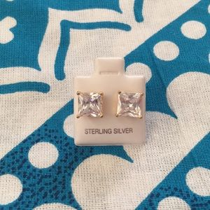 Sterling Silver Gold Plated Large Square Studs